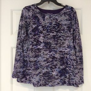 Coldwater Creek Top  Sz L Double Layer Multi Color